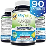 95% HCA 100% Pure Garcinia Cambogia Extract - 90 Capsules, Highest Potency, Extremely Powerful NEW and IMPROVED Formula, Maximum Strength Natural Weight Loss Supplement, Appetite Suppressant, Fat Burner, and Carbs Blocker by ZenVita Formulas