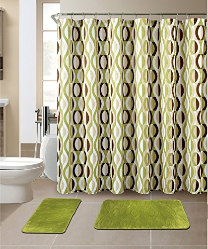 All American Collection New 15 Piece Bathroom Mat Set Memory Foam with Matching Shower Curtain (Helix Sage) (Grey And Green Shower Curtain compare prices)