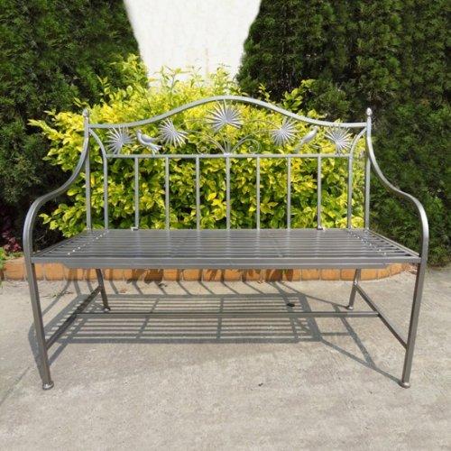 stabile 2-Sitzer Garten Bank Metall mit schönen Verzierungen 110cm Eisenbank anthrazit grau NEU günstig bestellen
