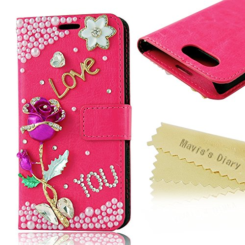 Sony Z3 Mini Case-Mavis'S Diary 3D Handmade Bling Crystal Rose Flower Alphabet Sparkle Glitter Rhinestone Diamond Pearl Pu Leather Wallet Type With Magnetic Clasp Credit Card Holder Design Folio Case Cover For Sony Xperia Z3 Compact (Z3 Mini) With Soft Cl