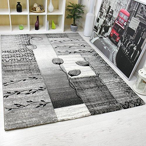 Moderno Soggiorno Tappeto Grigio, Nero, Crema con fiori e Piante Motivo VIMODA - grigio, 160x230 cm