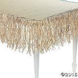 24 Foot Long Tiki Bar Raffia Fringe Skirt - Thatch (1-Pack)