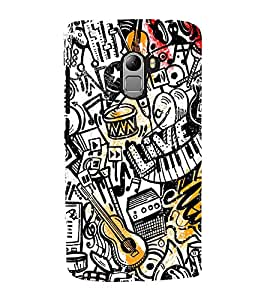 Fuson Premium Back Case Cover Music pattern With yellow Background Degined For Lenovo K4 Note