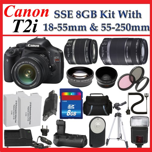 Canon EOS Rebel T2i 550D Featuring Canon 18-55 Lens with Canon 55-250 Lens + PRO Shooter 8GB & Lens Deluxe Accessory Package (Everything You Need)