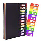 Expanding File Organizer 12 Pockets, Accordion Folders Letter Size Hold 120 Sheets, Assorted with Rainbow, Designed for Home, Office and School
