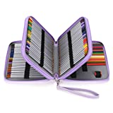 BTSKY Deluxe PU Leather Pencil Case for Colored Pencils - 120 Slot Pencil Holder with Handle Strap Handy Colored Pencil Box Large (Purple) (Color: Purple)