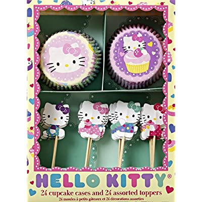 A Hello Kitty cupcake kit with bold colors and a bright pattern with two styles of bake cups and four styles of Hello Kitty toppers.