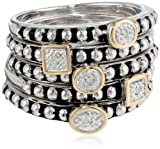 S&G Sterling Silver and 14k Yellow Gold Stacked Diamond Ring (0.02 cttw, I-J Color, I2-I3 Clarity)