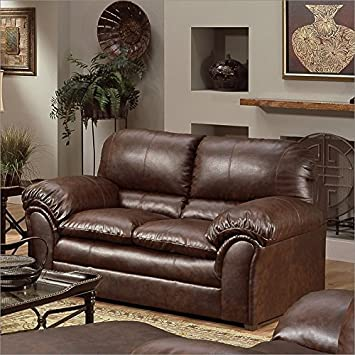 Simmons Upholstery 6152 - GL - X Geneva Bonded Leather Loveseat Color: Mahogany