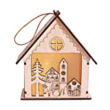 Iusun Christmas Wooden House, LED Light Wooden Dolls House Villa Christmas Table Ornaments Xmas Tree Hanging Decor (A) (Color: A, Tamaño: A)