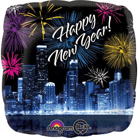 Happy New Year Skyline & Fireworks HeliumSaver XL Balloon - 1