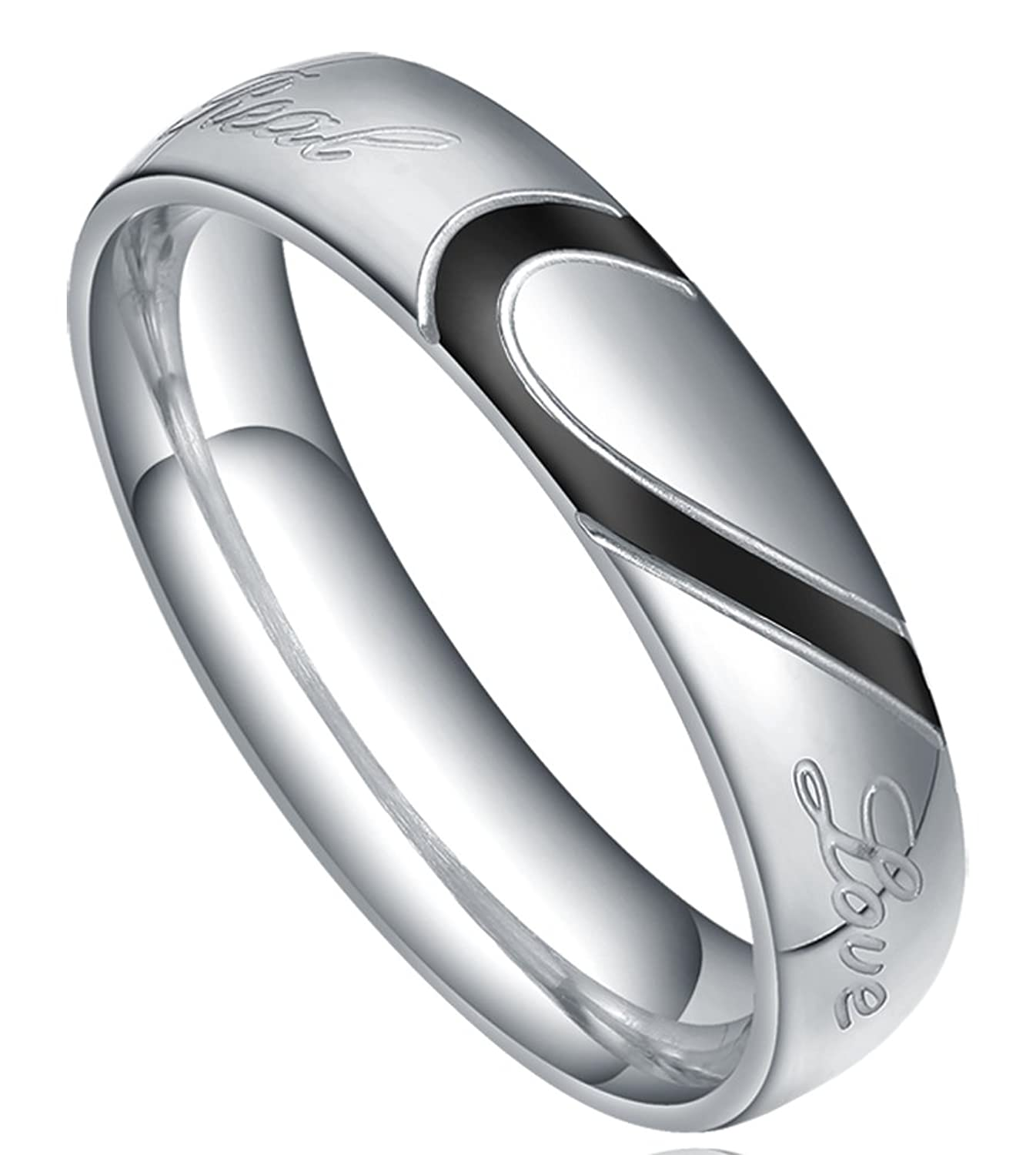 "TIGRADE Jewelry Mens Womens ""Real Love"" Heart Couples Matching Stainless Steel Band Rings Engagement Wedding Promise Size 4-15"