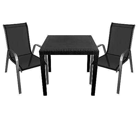3tlg. Sitzgruppe Sitzgarnitur Gartentisch in Rattan-Optik 79x79cm + 2x Stapelstuhl Stahlgestell pulverbeschichtet mit Textilenbespannung Silbergrau/Schwarz