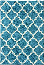Ottomanson Ultimate Shaggy Collection Moroccan Trellis Design Rugs,  Turquoise Blue,  60\