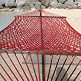 Caribbean Rope Hammock - 55 Inch - Soft-Spun Polyester (red)