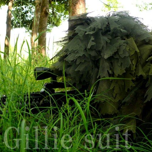 送料無料 緑地帯での圧倒的な 迷彩 力◇ ギリースーツ