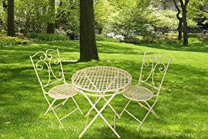 Patio furniture bistro set wrought iron anti rust table and chairs