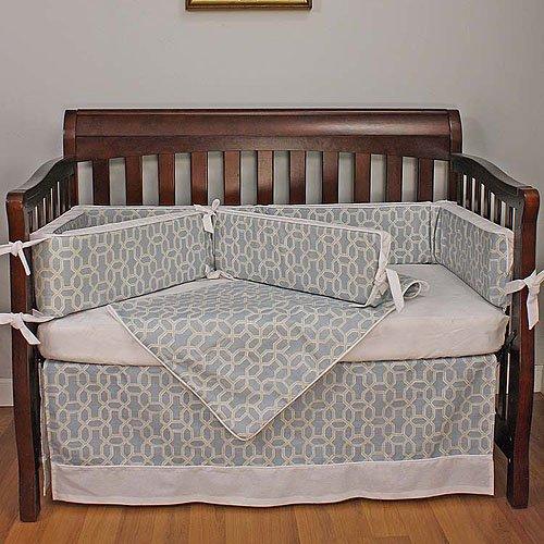 Hoohobbers Crib Bedding Set, Pebbles Sky, Blue 4 Piece
