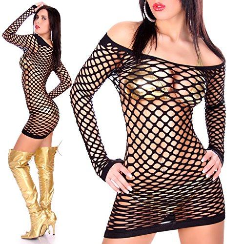 Jela London Damen Kleid Minikleid Netzkleid Netz Einheitsgröße für S-M