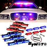 Blue Red 54X LED Police Vehicle Deck Grille Strobe Warning Lights - 1 set