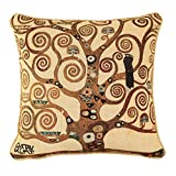 Signare Premium Tapestry Art Cushion Cover with Brocade Rope Edges 18 x 18 Inch / 45 x 45 cm Klimt Tree of Life...