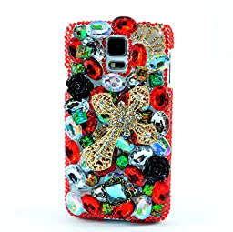 Samsung Galaxy Note 4 Case, Sense-TE Luxurious Crystal 3D Handmade Sparkle Glitter Diamond Rhinestone Ultra-Thin Clear Cover with Retro Bowknot Anti Dust Plug - Cross Flowers / Black&Red