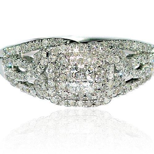 Cheapest 0.5ct Engagement Ring Wedding 14k White Gold Princess Cut Vintage