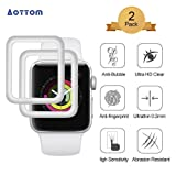 [2 Pack] Screen Protector for Apple Watch 38mm Aottom [3D Curved Edges Full Coverage] iWatch Screen Protector Protection Carbon Fiber Frame Edge Tempered Glass Film for 38mm Apple Watch Series 3/2/1 (Color: Silver, Tamaño: 38mm iWatch Series 1/2/3)