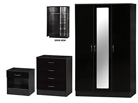 Alpha High Gloss Two Tone Mirrored Set, Wood, Black, 3 Piece