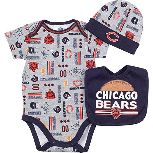 NFL Chicago Bears Bodysuit, Bib & Cap Set (3 Piece), 0-3 Months, Gray at Steeler Mania