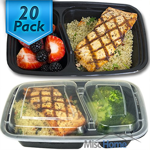 [20 Pack] 32 Oz. 2 Compartment Meal Prep Containers Durable BPA Free Plastic Reusable Food Storage Container Microwave & Dishwasher Safe w/ Airtight Lid For Portion Control & Bento Box Lunch Box (Safe Plastic Food Container compare prices)