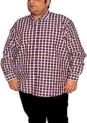 Xmex Men's Formal Shirt (KR-NEOECOCHEKS 1NotThere_XXXXX-Large, Maroon, XXXXX-Large)