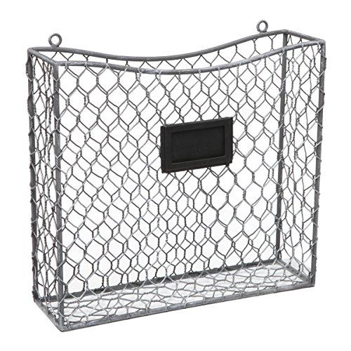 Country Rustic Gray Metal Wire Wall Mounted Magazine, File & Mail Holder Basket w/ Chalkboard Label