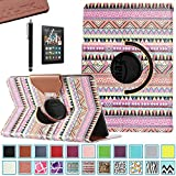 Kindle fire HDX 7 Case, Pandamimi ULAK(TM) 360 Rotating PU Leather Case Cover for Amazon Kindle Fire HDX 7.0 Inch 2013 Gen with Smart Cover Auto Wake/Sleep Feature and Stylus (OVERDOSE)