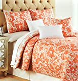 Nicole Miller 3pc Cotton Duvet Cover Set Coral Red Moroccan Medallion Floral Paisley (King)