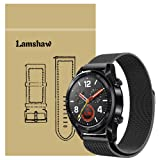 for Huawei Watch GT Band, Lamshaw Milanese Metal Stainless Steel Mesh Replacement Strap for Huawei Watch GT Smartwatch (Black) (Color: Black)