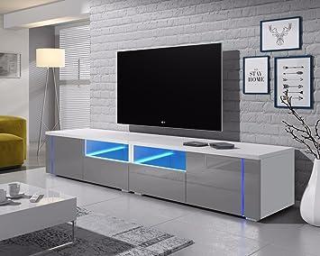 Oxy Doble - Mueble TV/ Mesa Para TV (200 cm, Blanco Mate / Frentes Grises en Brillo con Iluminación LED)