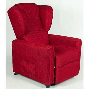 Relaxsessel MAGIC mit manueller Sitzneigung. Chinaroter Stoffbezug