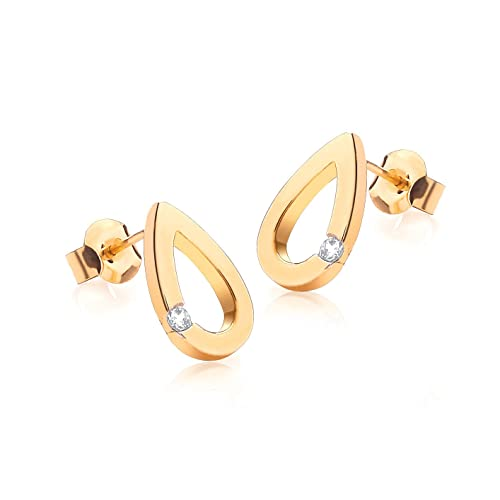 Carissima Gold 9ct Yellow Gold and Cubic Zirconia Teardrop Stud Earrings