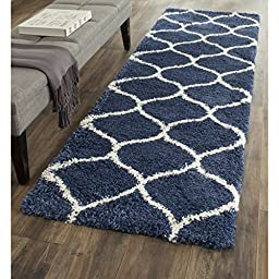 Safavieh Hudson Shag Collection SGH280C Navy and Ivory Runner, 2 feet 3 inches by 8 feet (2\'3\