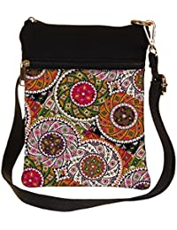 Snoogg Multicolor Pattern Design Cross Body Tote Bag / Shoulder Sling Carry Bag