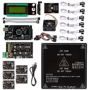 SainSmart Ramps 1.4 + A4988 + Mega2560 R3 + Endstop + MK2B + Cooler Fan Kit for RepRap 3D Printer Arduino Mega2560 UNO R3