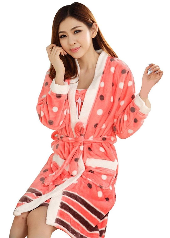 AIVTALK Damen Mädchen Flanell Nachtwäsche Set Nachtkleid Morgenmantel 2 in 1 Gestreift Gepunkt kaufen