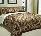 613lbadP9sL. SL160  Brown Cheetah Down Alternative Sherpa Comforter, Borrego Queen Blanket
