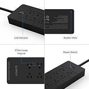 ORICO Surge Protector Power Strip with 8 Outlets and 5 USB Charging Ports, 5ft Extension Cord/1700J Ideal for Home and Office Accessories - Black(ETL/FCC Listed) (Color: 8A5U-V1-BK, Tamaño: 8 Outlets & 5 USB)