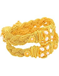 JFL- Traditional Ethnic Braided One Gram Gold Plated Designer Openable Kada With Jhumka Dangler For Girls And...