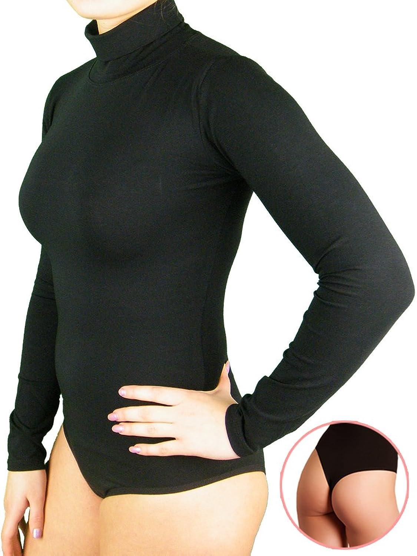 BALI Lingerie - Damen Langarm Body Stringbody mit Rollkragen - S M L XL