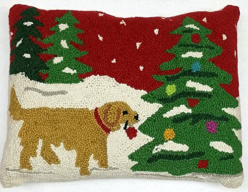 Golden Retriever Trimming The Holiday Tree Wool Dog Throw Pillow - 14