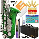 370-GR - Green/Silver Keys Eb E Flat Alto Saxophone Sax Lazarro+11 Reeds,Music Pocketbook,Case,Care Kit - 24 Colors with Silver or Gold Keys