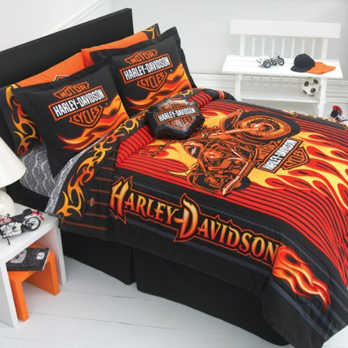 Harley Davidson Motorcycle Queen Sheet Set-Fireball back-971325